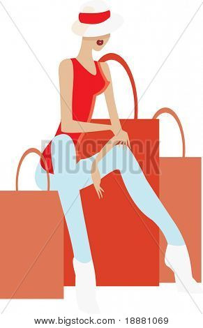 vector image of sitting woman after shopping