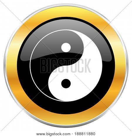 Ying yang black web icon with golden border isolated on white background. Round glossy button.