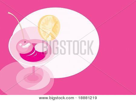 vector image of wineglass with martini