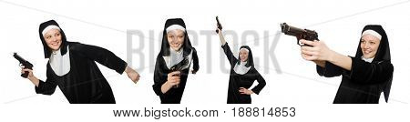 Nun with handgun isolated on white
