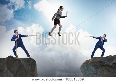 Business concept with tight rope walker