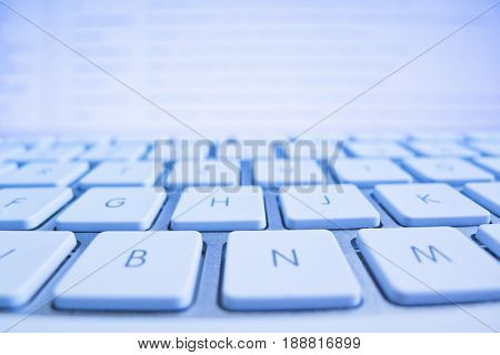 keyboard of a computer screen in front