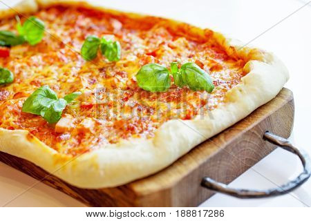 Supreme Pizza on wooden table