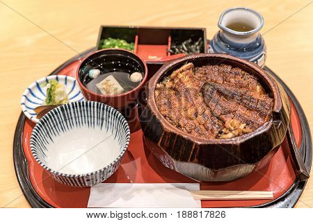 unadon eel rice bowl set, groumet japanese cuisine