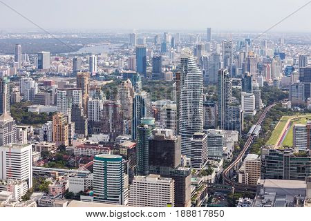 Aerial view of Bangkok cityscape skyline downtown Thailand