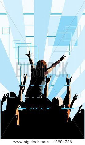 vector image of clubbing people in club