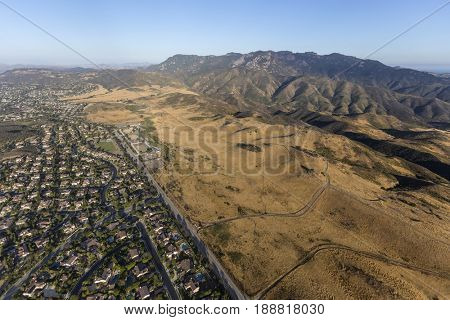 Aerial view of Newbury Park and the Santa Monica Mountains National Recreation Area in Ventura County, California.