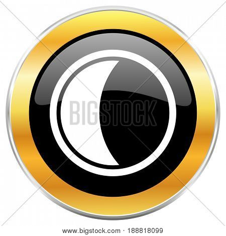 Moon black web icon with golden border isolated on white background. Round glossy button.