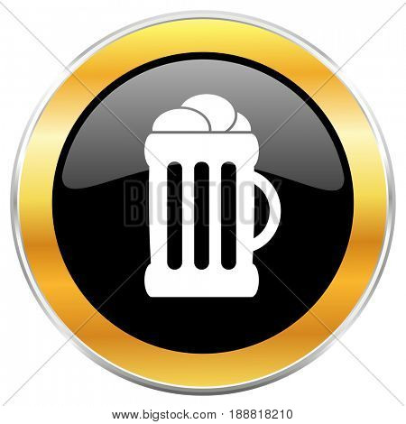 Beer black web icon with golden border isolated on white background. Round glossy button.