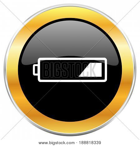Battery black web icon with golden border isolated on white background. Round glossy button.