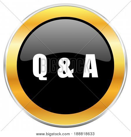 Question answer black web icon with golden border isolated on white background. Round glossy button.