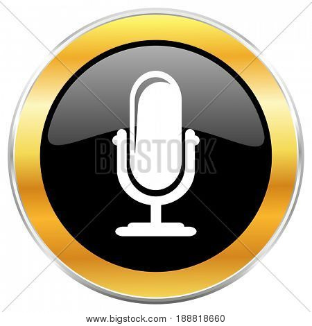 Microphone black web icon with golden border isolated on white background. Round glossy button.