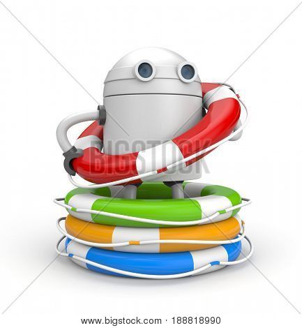 Robot with heap of life buoys. 3d illustration