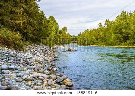 Beautiful Mountain River at the Capilano Park. North Vancouver, British Columbia, Canada.