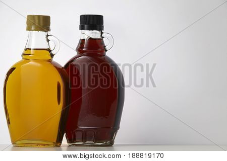 agave and maple syrup on the white background