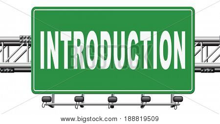 Introduction or about us road sign a biography or bio, 3D, illustration