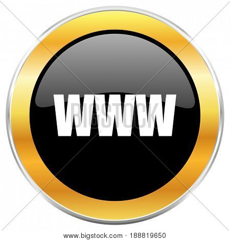 WWW black web icon with golden border isolated on white background. Round glossy button.
