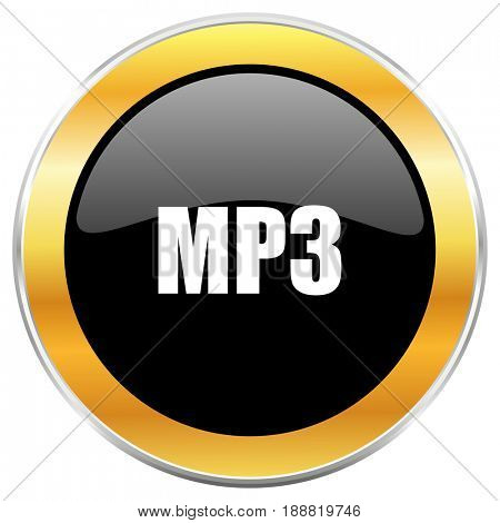 Mp3 black web icon with golden border isolated on white background. Round glossy button.