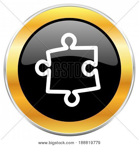 Puzzle black web icon with golden border isolated on white background. Round glossy button.