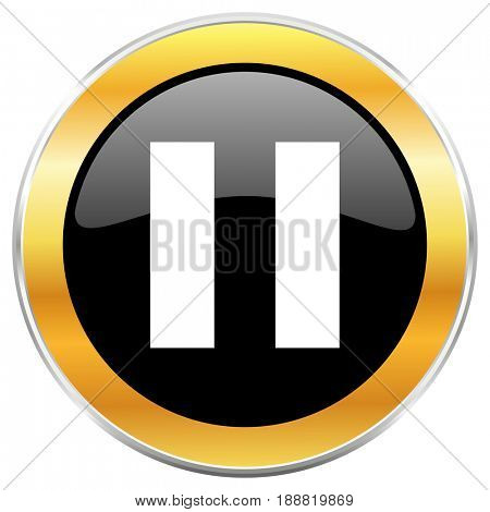 Pause black web icon with golden border isolated on white background. Round glossy button.