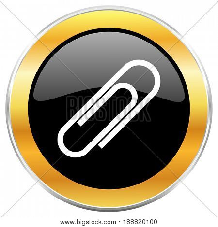 Paperclip black web icon with golden border isolated on white background. Round glossy button.