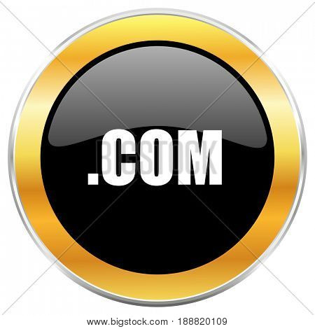 Com black web icon with golden border isolated on white background. Round glossy button.