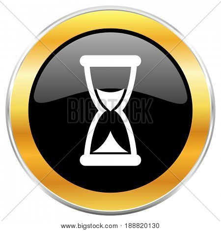 Time black web icon with golden border isolated on white background. Round glossy button.