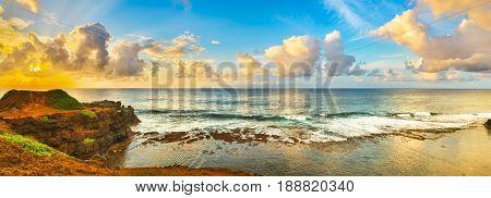 Coastal view at sunrise. Mauritius. Panorama
