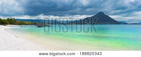 Sandy tropical Wolmar beach at sunny day. Panorama. Mauritius