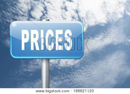 prices for online internet web shop product order, price road sign, 3D, illustration