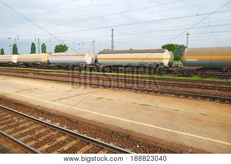 Freight train passing by with blur