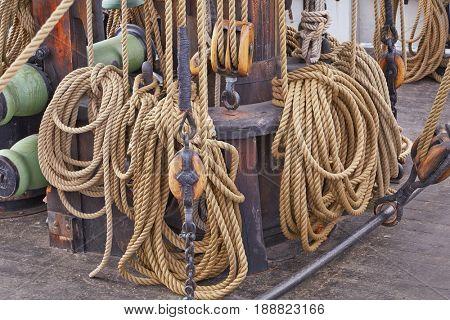 Old sailing ship rigging details