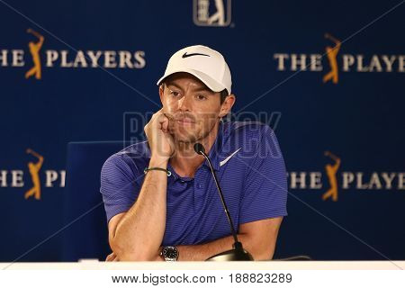 PONTE VEDRA BEACH, FL-MAY 9: Golfer Rory McIlroy speaks to the media before The PLAYERS Championship on May 9, 2017 in Ponte Vedra Beach, Florida.