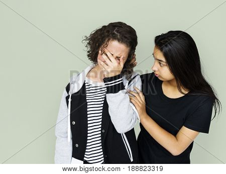Friends crying sadness and soothe together