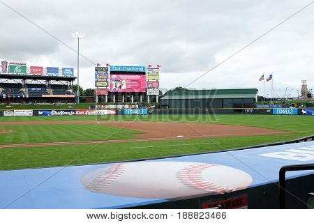 ROUND ROCK, TEXAS - MAY 22, 2017: Dell Diamond Stadium. The field is home to the minor league Round Rock Express the AAA affiliate of the Texas Rangers.