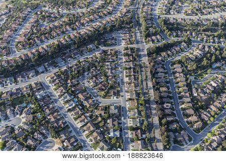 Aerial view of Camarillo suburban streets in Ventura County California.