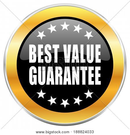 Best value guarantee black web icon with golden border isolated on white background. Round glossy button.