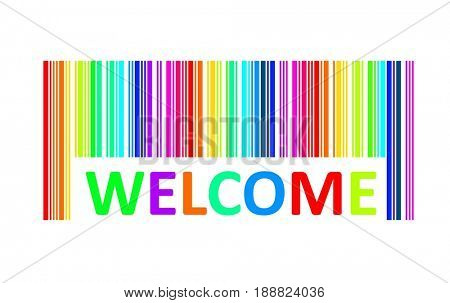 Welcome word with bar code