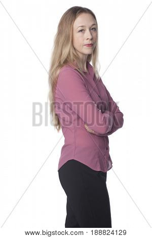 Serious Caucasian woman with arms crossed