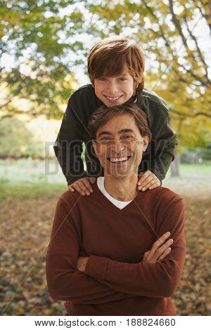 Smiling Caucasian father