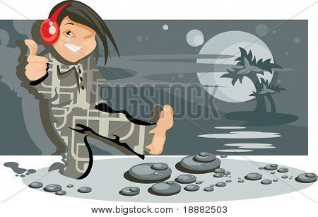 vector image of jumping boy