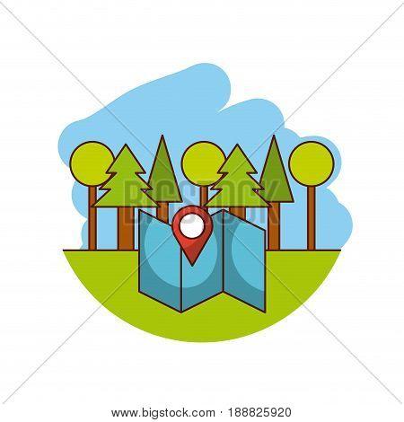 trees flat lanscape vector illustration icon design graphic