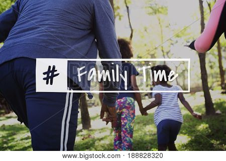 Family Time Quality Moment Word Graphic Hashtag