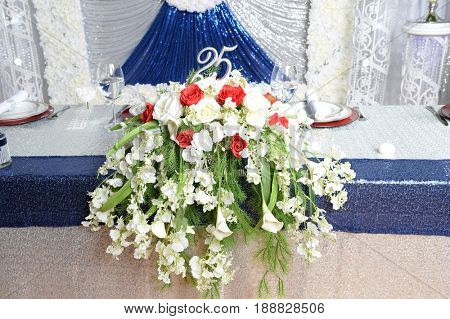 Flower arrangements for twenty fifth year celebration