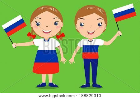 Smiling children, boy and girl, holding a russian flag isolated on green background. Cartoon mascot. Holiday illustration to the Day of the country, Independence Day, Flag Day.