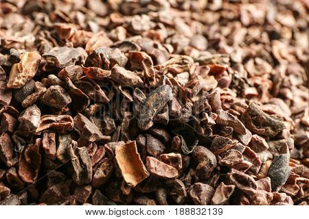 Crushed cocoa nibs, closeup