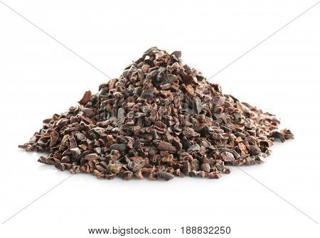 Heap of cocoa nibs on white background