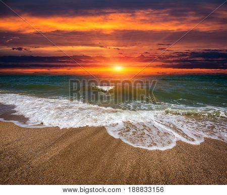 Sunset landscape over sea shore