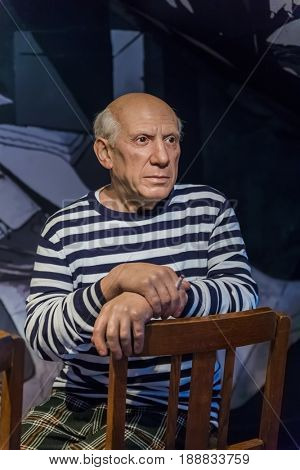 AMSTERDAM, NETHERLANDS - APRIL 25, 2017: Pablo Picasso wax statue in Madame Tussauds museum on April 25, 2017 in Amsterdam Netherlands.