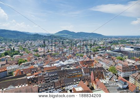 An image of an aerial view over Freiburg